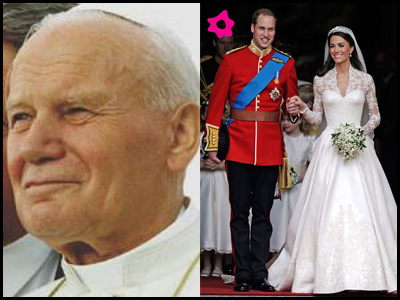 Papa Wojtyla Santo, William e Kate sposi